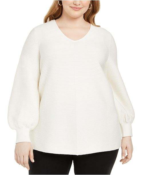 Alfani Plus Size Ottoman-Stitch Sweater, Created for Macy's