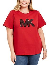 Plus Size Cotton Sequined-Logo Top