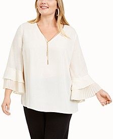 Plus Size Pleated Bell-Sleeve Top