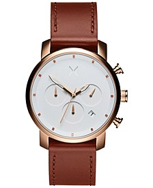 Men's Chrono 40 Rose Gold Natural Tan Leather Strap Watch 40mm