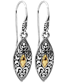 Bali Heritage Classic Drop Earrings in Sterling Silver and 18k Yellow Gold Accents