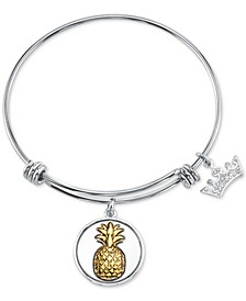 Pineapple & Crown Charm Bangle Bracelet in Two-Tone Stainless Steel