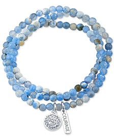 Crystal Courage Charm Blue Agate Stone Bead Stretch Bracelet