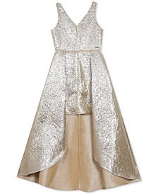 Big Girls Brocade Walk-Through Gown