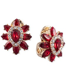 Gold-Tone Pavé & Stone Clip-On Button Earrings