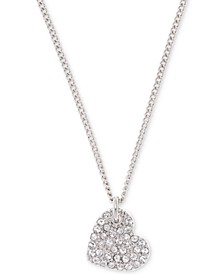 "Silver-Tone Crystal Heart Pendant Necklace, 16"" + 3"" extender, Created for Macy's"