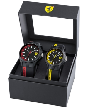 Men's Basics Black Silicone Strap Watch 38mm & 44mm Gift Set