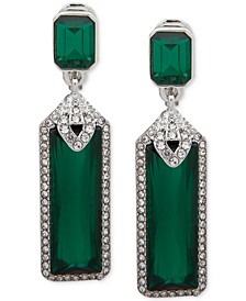 Pavé & Stone Clip-On Drop Earrings