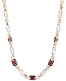 "Gold-Tone Pavé Link & Stone Collar Necklace, 16"" + 3"" extender"