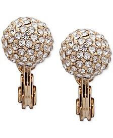 Gold-Tone Pavé Crystal Fireball Clip-On Button Earrings
