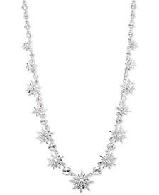 "Silver-Tone Crystal Starburst Collar Necklace, 16"" + 3"" extender"