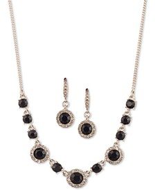 "Crystal Halo Collar Necklace & Drop Earrings Set, 16"" + 3"" extender"