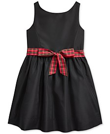 Toddler Girl's Plaid-Bow Taffeta Dress