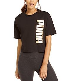 Cotton Metallic Logo Cropped T-Shirt