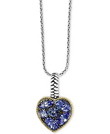 "EFFY® Tanzanite Heart 18"" Pendant Necklace (2-1/5 ct. t.w.) in Sterling Silver & 18k Gold over Silver"