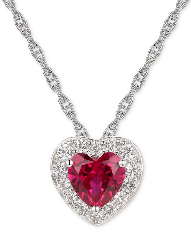 "Macy's Lab-Created Ruby (1-1/3 ct.t.w.) & White Sapphire (1/2 ct. t.w.) 18"" Pendant Necklace in Sterling Silver"