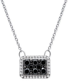 "Diamond Square Halo Cluster 18"" Pendant Necklace (1/2 ct. t.w.) in 10k White Gold"