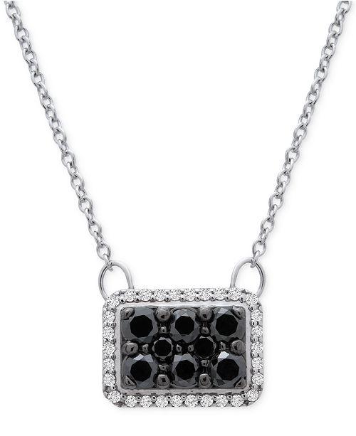 "Macy's Diamond Square Halo Cluster 18"" Pendant Necklace (1/2 ct. t.w.) in 10k White Gold"