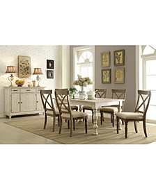 Aberdeen Driftwood Expandable Dining 7-Pc. Set (Table & 6 Upholstered Side Chairs)