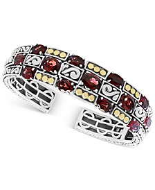 EFFY® Rhodolite Garnet (14 ct. t.w.) Cuff Bangle Bracelet in Sterling Silver & 18k Gold