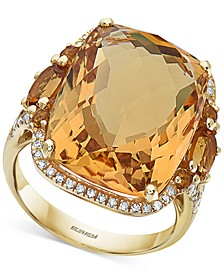 EFFY® Citrine (17-1/3 ct. t.w.) & Diamond (1/3 ct. t.w.) Ring in 14k Gold