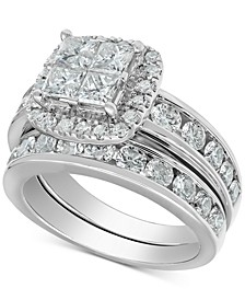 Diamond Princess Halo Bridal Set (3 ct. t.w.) in 14k White Gold