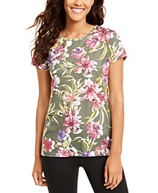 Floral-Print Keyhole-Back T-Shirt, Created for Macy's