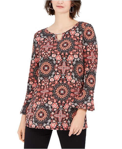 NY Collection Petite Embellished Bell-Sleeve Top