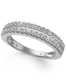 Diamond Double Row Band (1/2 ct. t.w.) in 14k White Gold