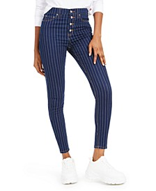 Striped Button-Fly Skinny Jeans
