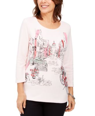 Romance Ride Graphic 3/4-Sleeve Top, Created For Macy's