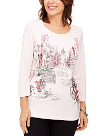 Petite Graphic Embellished Top, Created For Macy's