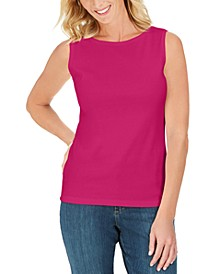 Petite Cotton Boat-Neck Tank Top, Created for Macy's