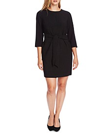 Crepe Belt-Front Sheath Dress