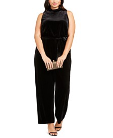 Plus Size Velvet Wide-Leg Jumpsuit