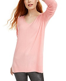 Juniors' V-Neck Tunic Sweater