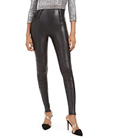 Faux-Leather Hip-Zip Leggings