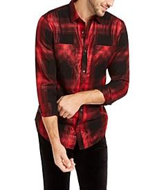 INC Men's Metallic Plaid Shirt, Created For Macy's