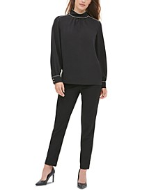 Mockneck Piping-Trim Blouse