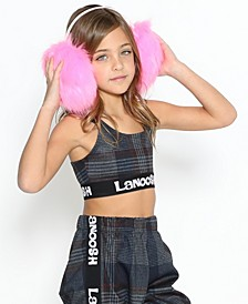 Little Girls Fitted Sports Bra with Trendy Logo Elastic Band In A Racerback Straps
