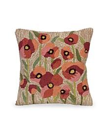 "Liora Manne Frontporch Poppies Indoor, Outdoor Pillow - 18"" Square"