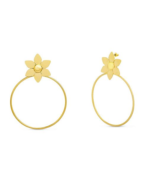 Catherine Malandrino Flower Hoop Earring in Yellow Gold-Tone Alloy