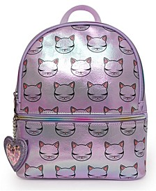 Kitty Print Hologram Mini Backpack