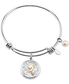 Tri-Tone Crystal Little Mermaid Glass Shaker Adjustable Bangle Bracelet in Stainless Steel for Unwritten
