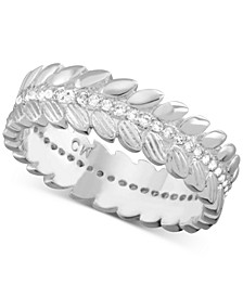 Cubic Zirconia Leaf Ring in Fine Silver-Plate