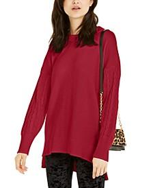 Cotton Cable-Sleeve Crewneck Sweater