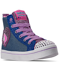 Skechers Little Girls Twinkle Toes Twi-Lites Patch Cuties High Top Casual Sneakers from Finish Line