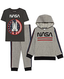 Little Boys 3-Pc. NASA Hoodie, T-Shirt & Joggers Set
