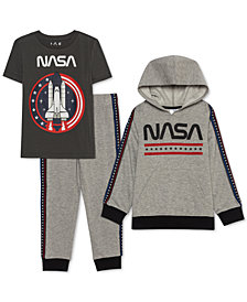 Jem Toddler Boys 3-Pc. NASA Hoodie, T-Shirt & Joggers Set