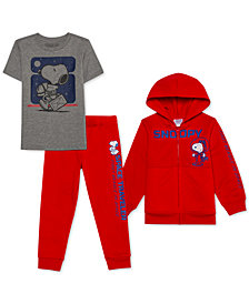 Peanuts Little Boys 3-Pc. Snoopy Hoodie, T-Shirt & Joggers Set